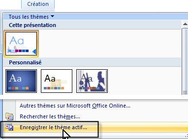 PowerPoint enregistrer un nouveau thème personalisé