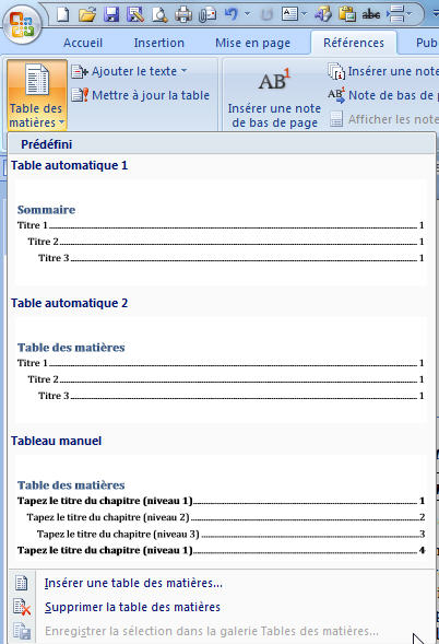 exemple de table des matieres word 2010