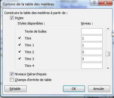 Option de la table des matières