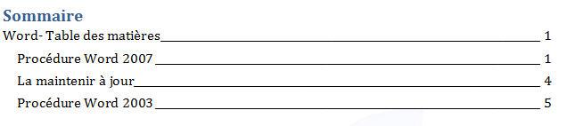table des matières, résultat final