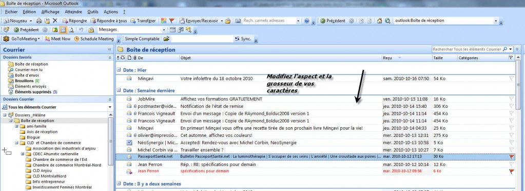 comment augmenter la taille outlook