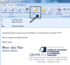 Déplacer un courriel à partir du bouton Déplacer